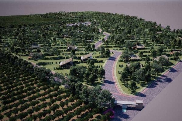 3D-Ansicht-Luftbild-Blockhäuser